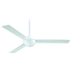 52-Inch Modern Ceiling Fan Without Light in White Finish
