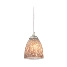 Design Classics Lighting Modern Mini-Pendant Light with Brown Art Glass 582-09 GL1016MB