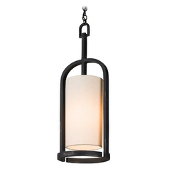 French Black Mini-Pendant Light with Cylindrical Shade