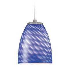 Low Voltage LED Mini-Pendant Light with Blue Glass