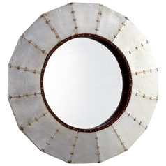 Steel Wheel Round 31.5-Inch Mirror