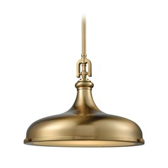 Elk Lighting Rutherford Satin Brass Pendant Light with Bowl / Dome Shade