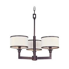 Modern Mini-Chandelier with White Shades in Oil Rubbed Bronze Finish