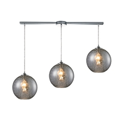 Elk Lighting Modern Multi-Light Pendant Light with Grey Glass and 3-Lights 31380/3L-smk