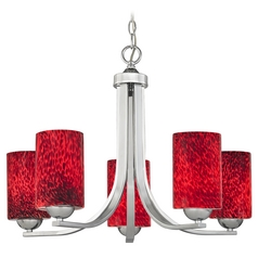 Chrome Chandelier with Red Art Glass Cylinder Shades