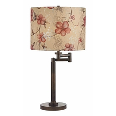 Design Classics Lighting Bronze Three-Way Drum Table Lamp with Swing-Arm 1902-1-604 SH9512