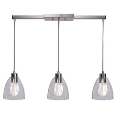 Kenroy Home Edis Brushed Steel Multi-Light Pendant with Bowl / Dome Shade
