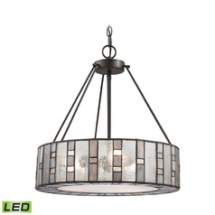 Mercury Glass Drum LED Pendant Light Bronze Elk Lighting