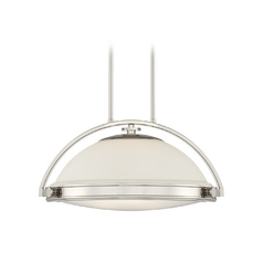 Modern Pendant Light with White Glass in Imperial Silver Finish