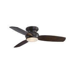 Minka Outdoor Modern Ceiling Fan with Beige Glass Light