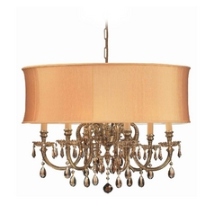 Crystal Chandelier with Gold Shade in Olde Brass Finish