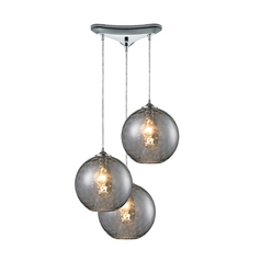 Elk Lighting Modern Multi-Light Pendant Light with Grey Glass and 3-Lights 31380/3smk