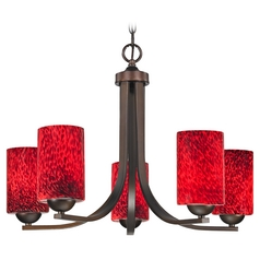 Modern Chandelier with Red Art Glass in Bronze Finish with Five Lights