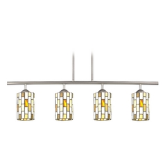 Island Light with Multi-Color Glass in Satin Nickel Finish