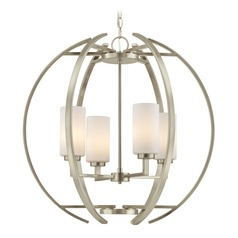 Large Modern Orb with 4 Lights in Satin Nickel Finish