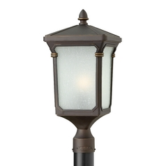 LED Post Light with White Glass in Oil Rubbed Bronze Finish