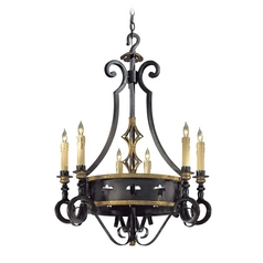 Chandelier in French Black with Gold Leaf Finish
