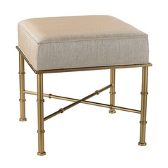 Gold Cane Bench in Cream Metallic