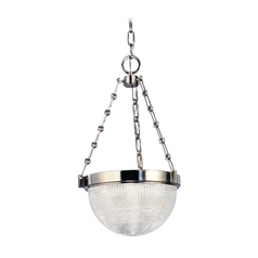Pendant Light with Clear Glass in Satin Nickel Finish