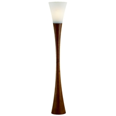 Modern Floor Lamp with White Glass in Walnut Finish
