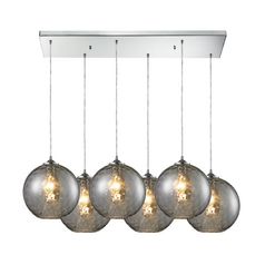 Elk Lighting Modern Multi-Light Pendant Light with Grey Glass and 6-Lights 31380/6rc-smk