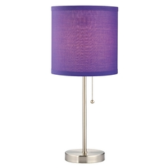 Design Classics Lighting Pull-Chain Table Lamp with Purple Drum Shade 1900-09 SH9528