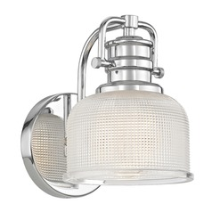 Prismatic Glass Wall Sconce in Chrome Finish