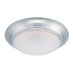 LED Flushmount Light with White Glass in Satin Platinum Finish
