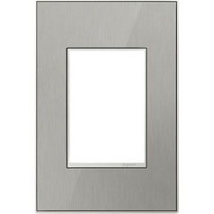 Legrand Adorne Brushed Stainless 1-Gang 3-Module Switch Plate