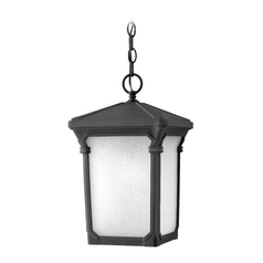 Outdoor Hanging Light with White Glass in Museum Black Finish