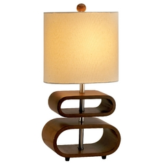 Modern Table Lamp with Beige / Cream Shade in Walnut Finish