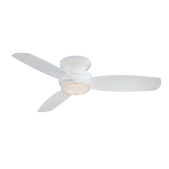 Modern Ceiling Fan with Light with White Glass in White Finish