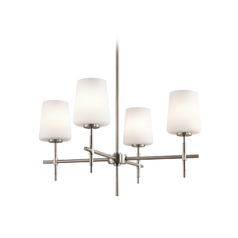 Kichler Lighting Kichler Chandelier with White Glass in Brushed Nickel Finish 43085NI
