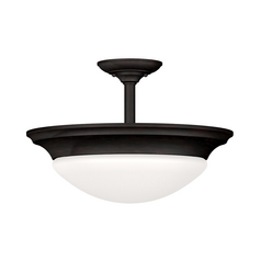 Modern Semi-Flushmount Light with White Glass in Oil Rubbed Bronze Finish