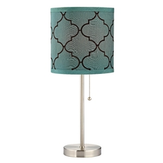 Design Classics Lighting Table Lamp with Pull-Chain and Marrakesh Pattern Drum Shade 1900-09 SH9529
