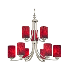 Two Tier Chandelier with Red Art Glass Shades in Satin Nickel Finish