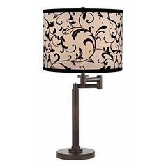 Design Classics Lighting Modern Swing Arm Lamp with Black Shade in Bronze Finish 1902-1-604 SH9515