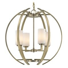 Large Modern Orb with 4 Lights in Antique Brass Finish