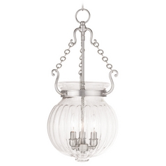 Livex Lighting Everett Brushed Nickel Pendant Light with Fluted Shade