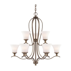 Chandelier with White Glass in Palladian Bronze Finish