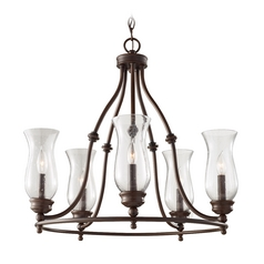 Chandelier with Clear Glass in Heritage Bronze Finish