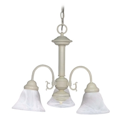 Mini-Chandelier with Alabaster Glass in Textured White Finish