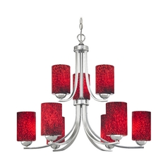 Chrome Chandelier with Cylinder Red Art Glass Shades and Nine Lights