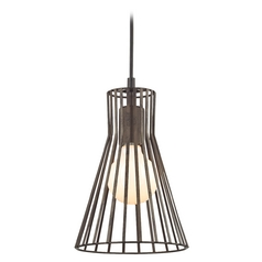 Capsule Mini-Pendant Light with Bronze Slatted Shade