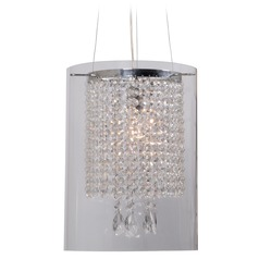 Kenroy Home Lighting Monroe Chrome Pendant Light with Cylindrical Shade