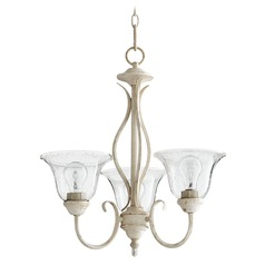 Seeded Glass Mini-Chandelier White Quorum Lighting