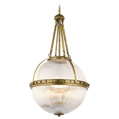 Kichler Lighting Aster Natural Brass Pendant Light with Globe Shade