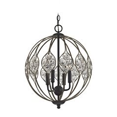 Elk Lighting Crystal Web Bronze Gold / Black Pendant Light with Globe Shade