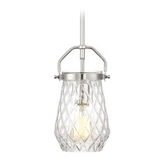 Polished Nickel Mini-Pendant Light with Bowl / Dome Shade St. Clare Collection by Savoy House