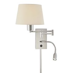 Modern Pin-Up Lamp with White Shade in Chrome Finish